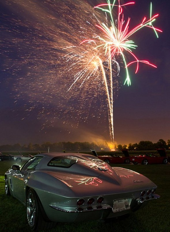 Corvette C2 with fireworks